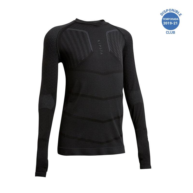 Camiseta Térmica Fútbol Keepdry 500 Manga Larga Niños Negro