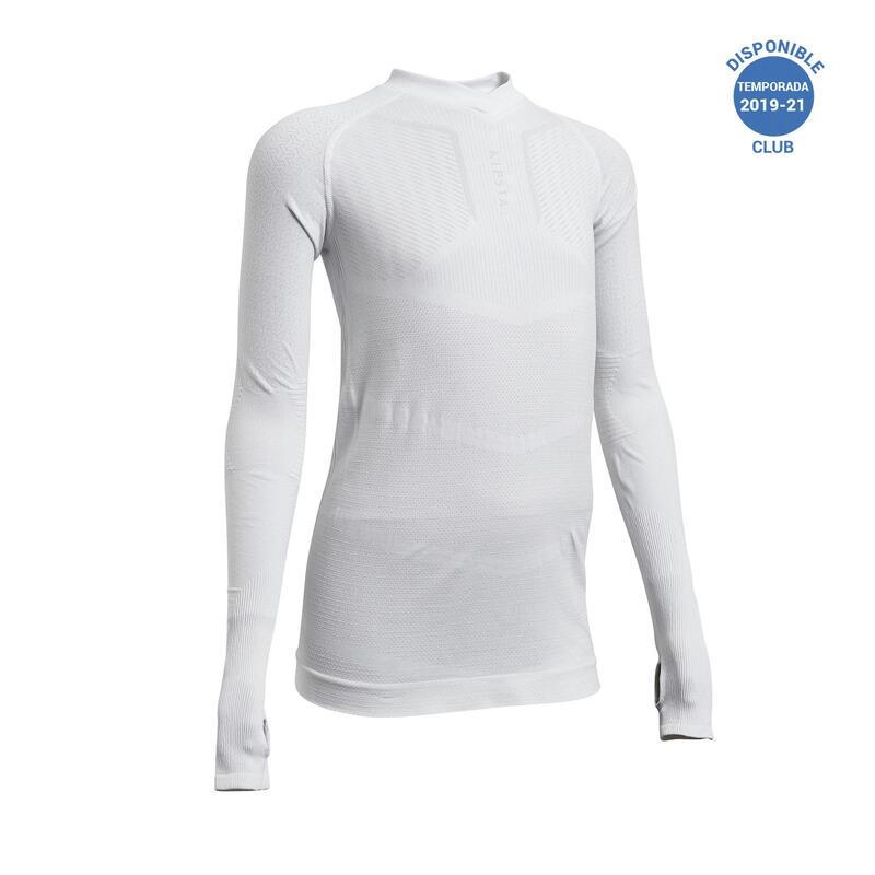 Camiseta Térmica Fútbol Keepdry 500 Manga Larga Niños Blanco
