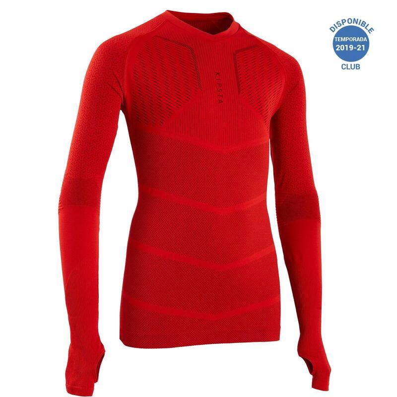 Camiseta Térmica Fútbol Keepdry 500 Manga Larga Niños Rojo