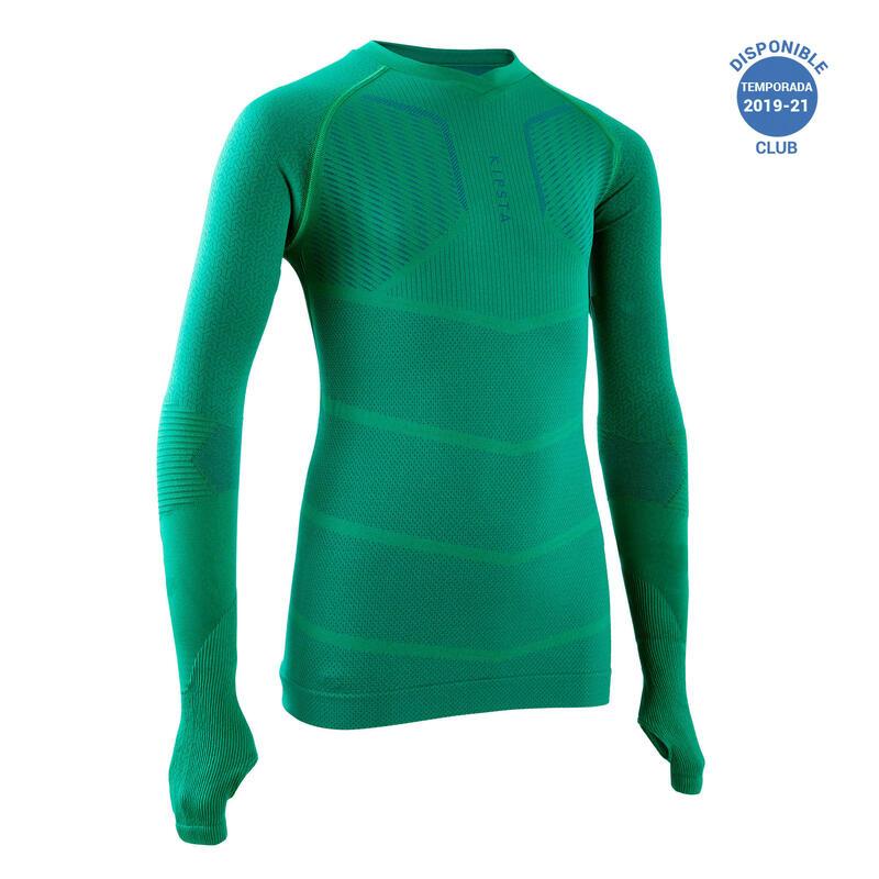 Camiseta Térmica Fútbol Keepdry 500 Manga Larga Niños Verde