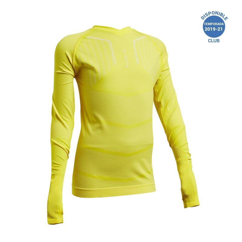 Camiseta Térmica Fútbol Keepdry 500 Manga Larga Niños Amarillo