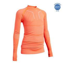 Camiseta Térmica Kipsta Keepdry 500 niños naranja fluorescente