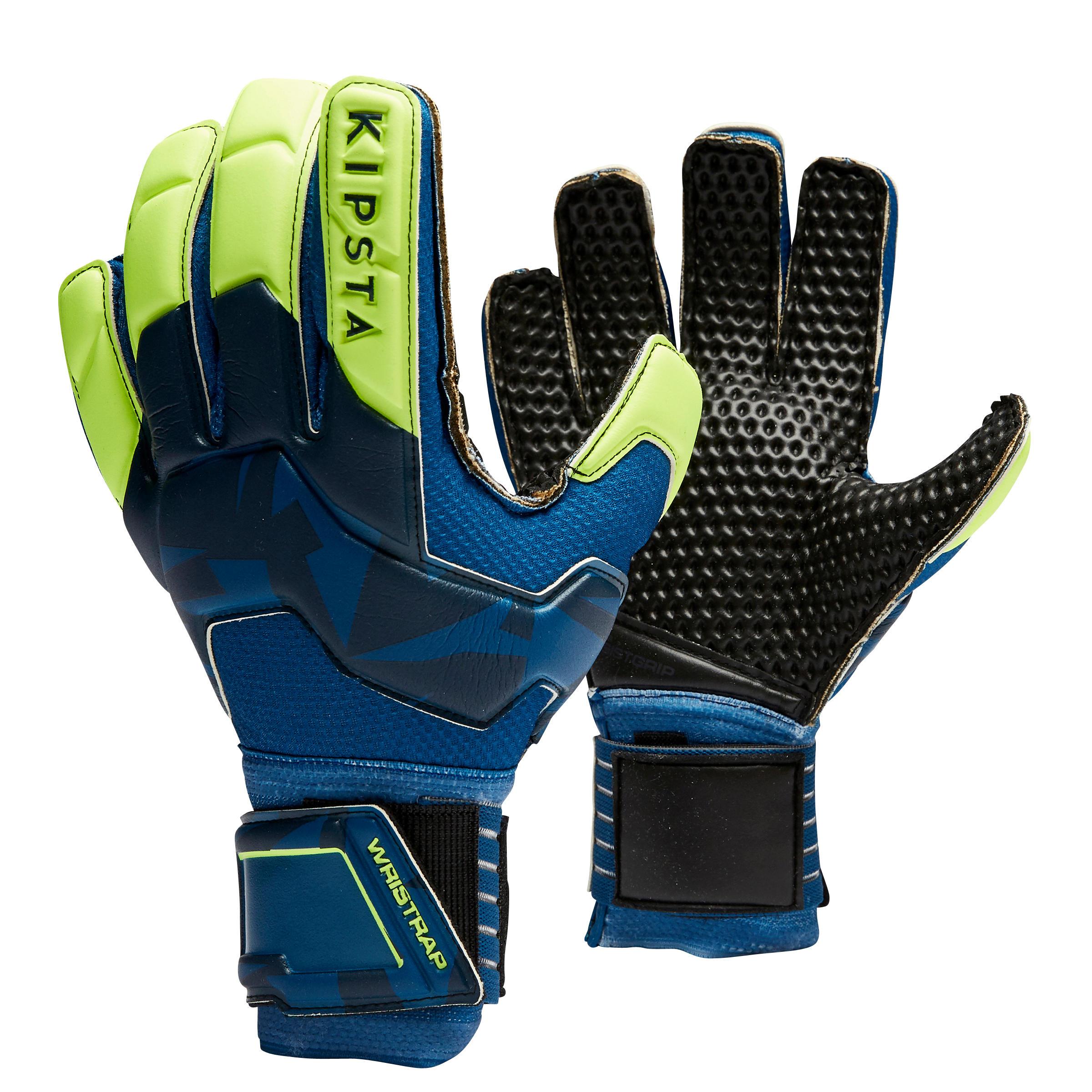 Torwarthandschuhe F500 geriffelt Erwachsene blau/gelb   Accessoires > Handschuhe > Sonstige Handschuhe   Kipsta