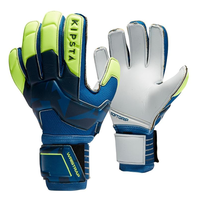 Luvas de Guarda-Redes de Futebol F500 Adulto Azul/Amarelo