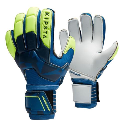 Gants de gardien de football adulte F500 bleu jaune