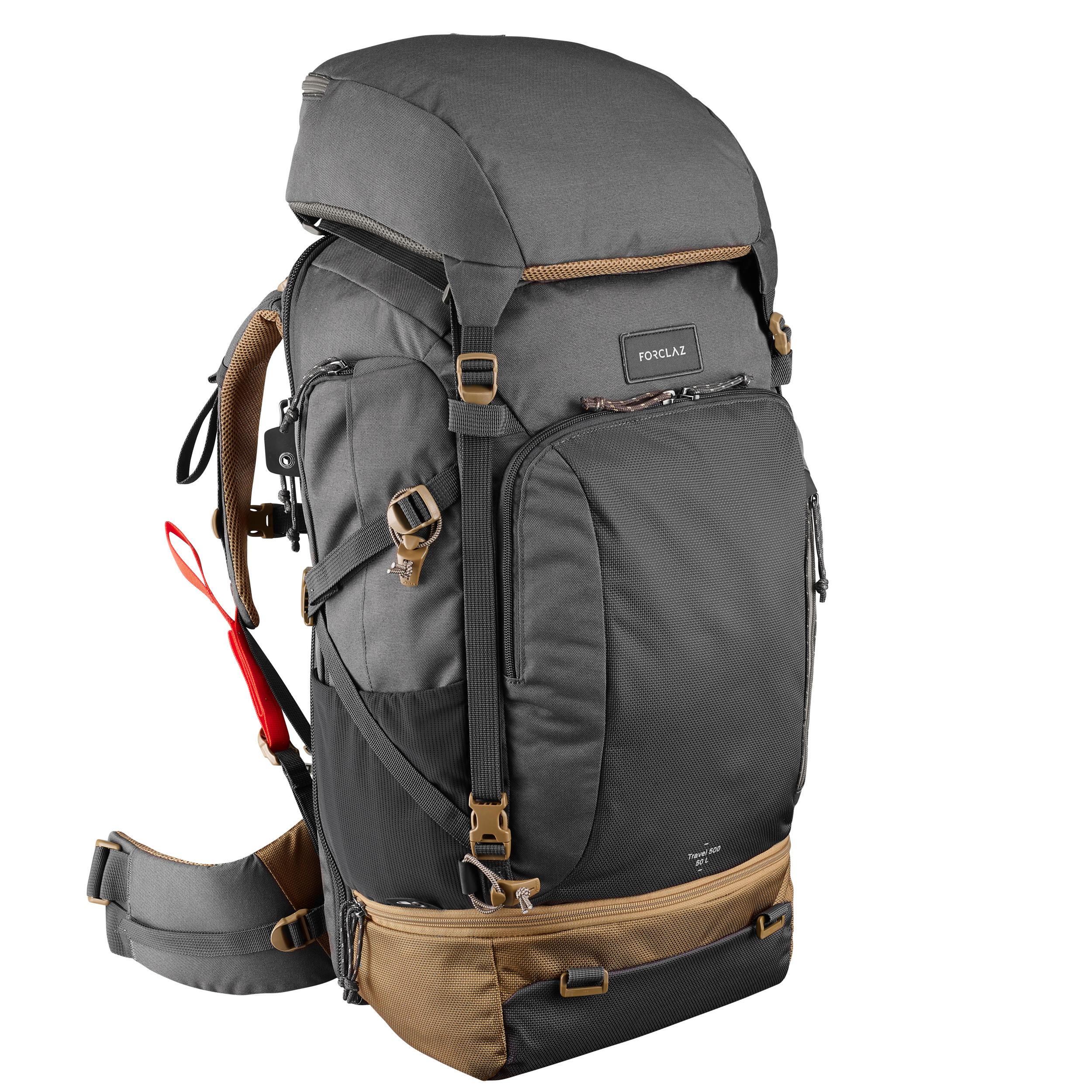 Trekking Travel500 Mochila Hombre Admite Gris Litros 50 Candado mNwv0nO8