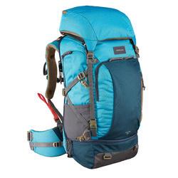 Mochila 50 litros de trekking viaje - TRAVEL 500 azul mujer