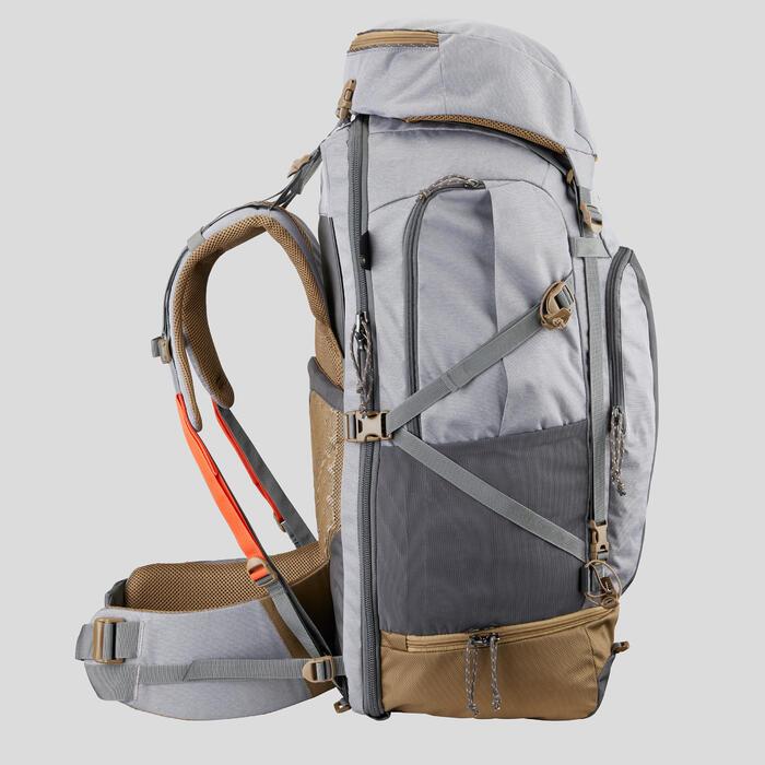 Backpacking Rucksack Travel 500 70 Liter abschließbar Damen grau