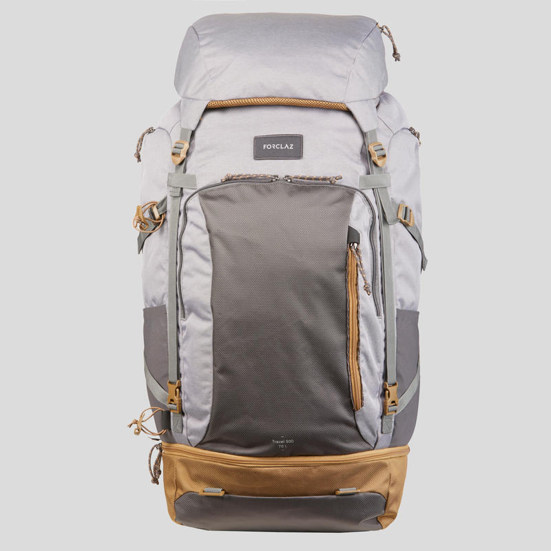 Women's 70 litre trekking rucksack - TRAVEL 500 - Grey