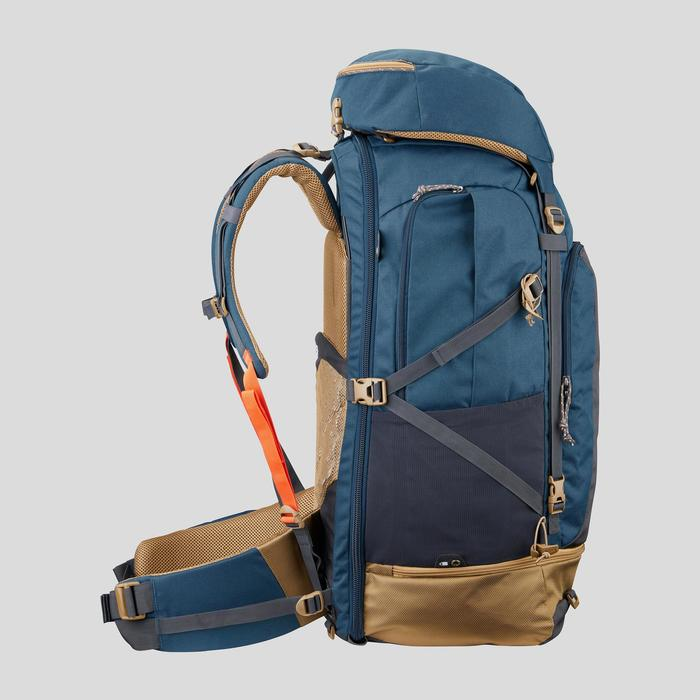 Rugzak voor backpacken heren Travel 500 70 liter blauw
