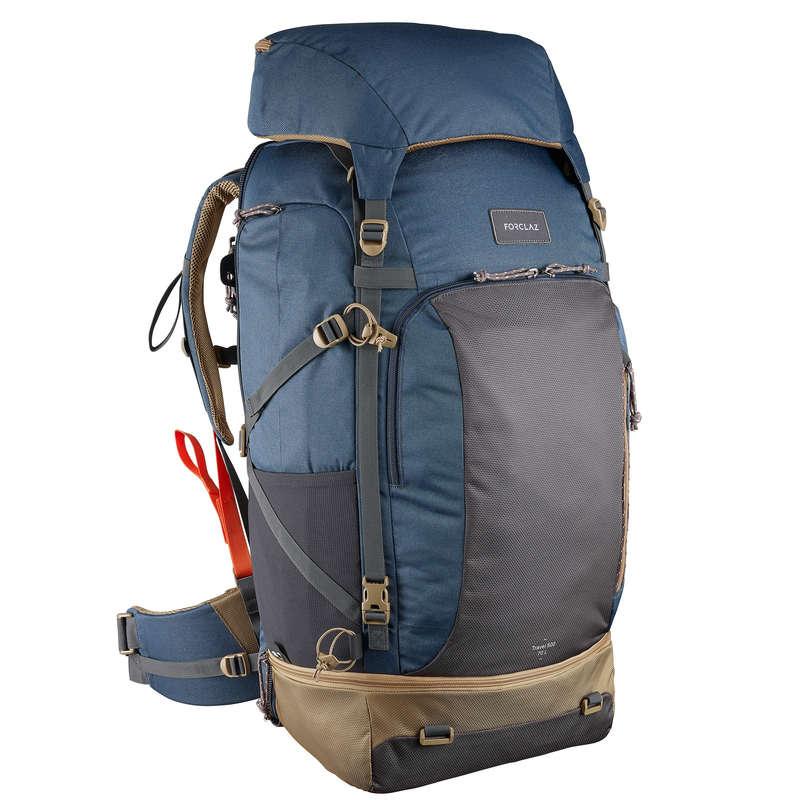 BACKPACKS 40L TO 70L TRAVEL TREKKING Trekking - Travel 500 70L Men's Rucksack with Padlock- Blue FORCLAZ - Trekking