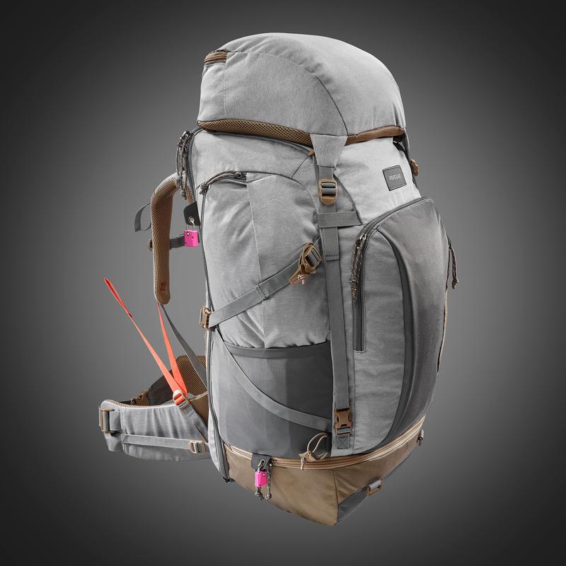 Women's 70 litre trekking rucksack TRAVEL 500 - Grey | forclaz