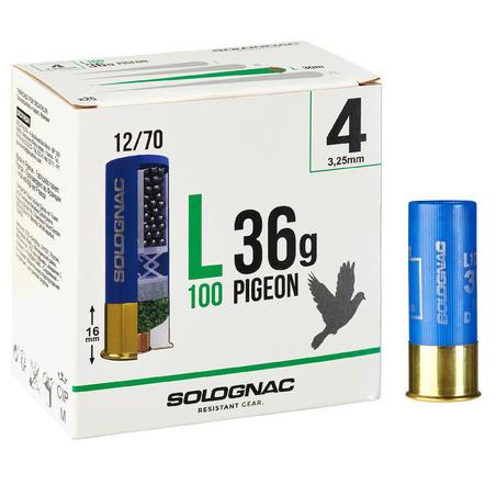 L100 36 g PIGEON CARTRIDGE CALIBRE 12/70 SHOT SIZE N°4 X25