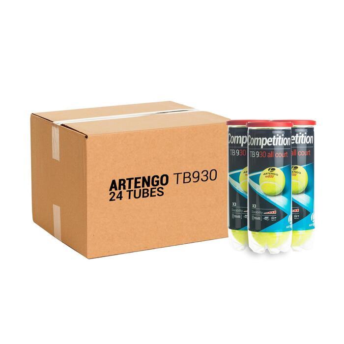 Tennisballen voor competitie TB930 24 kokers van 3 stuks geel
