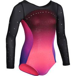 Turnpakje met lange mouwen 900 voor artistieke gymnastiek damesmodel roze