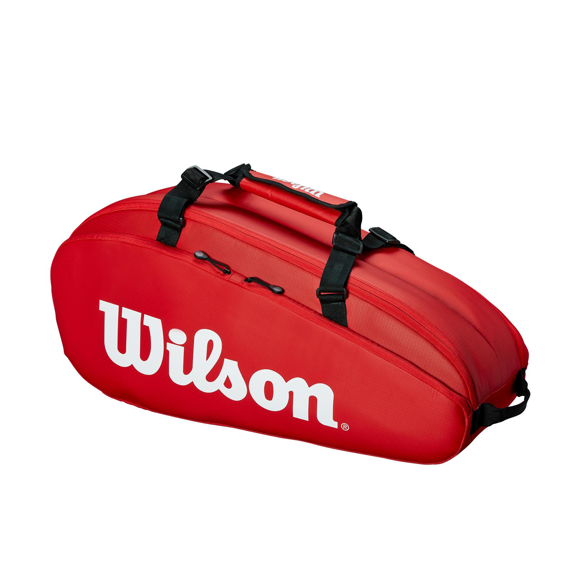 Tennis Bag 6r Red White Wilson Decathlon