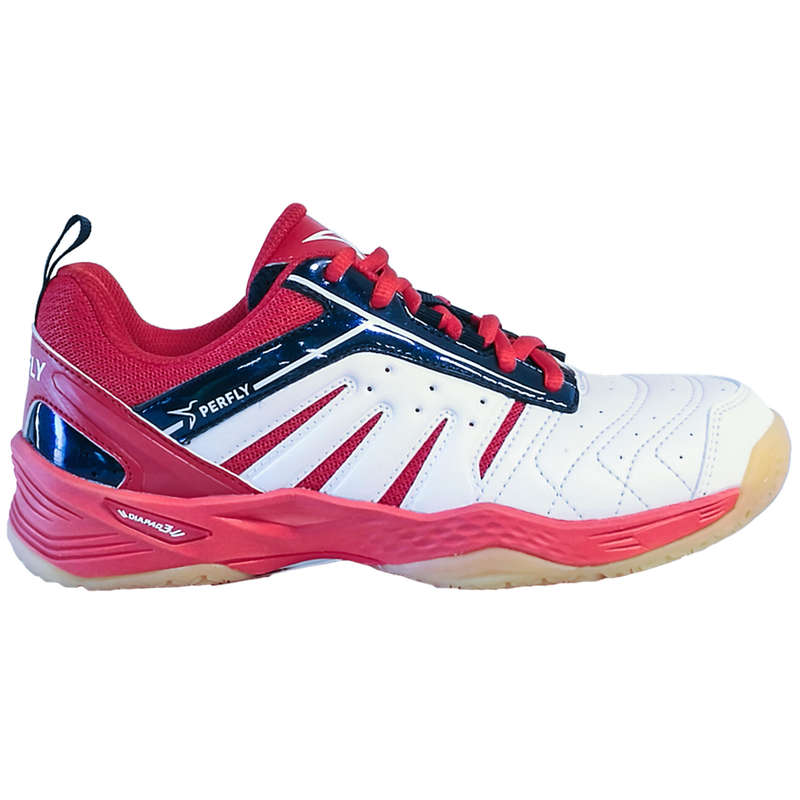 KIDS BADMINTON SHOES Table Tennis - BS 560 JR LITE SHOES WHITE RED PERFLY - Table Tennis