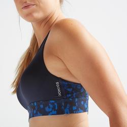 Sportbeha voor cardiofitness 500 marineblauw met print