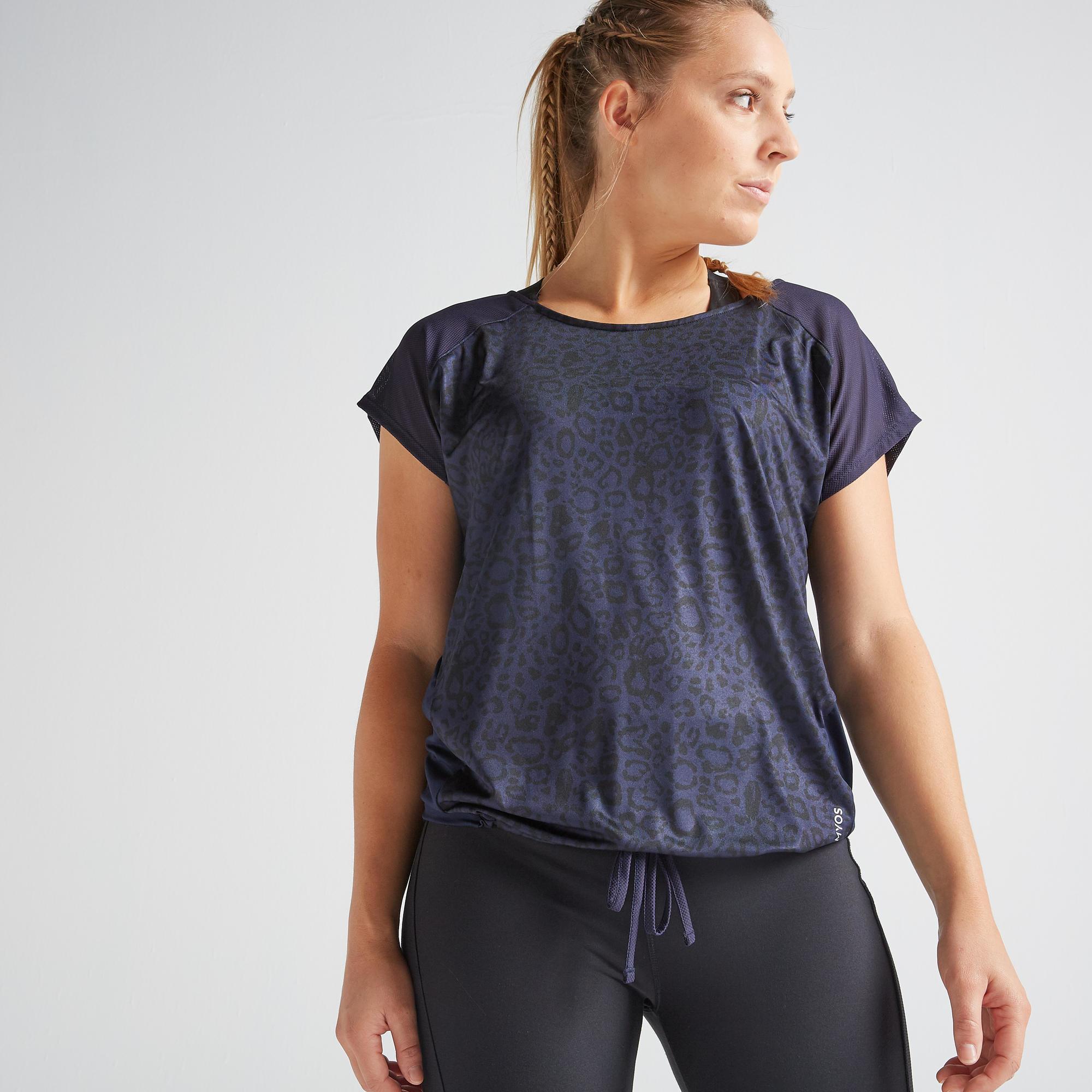 T-shirt fitness cardio training femme bleu marine imprimé 120 - Domyos