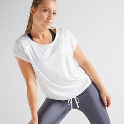 T-shirt voor cardiofitness dames 120 wit/print