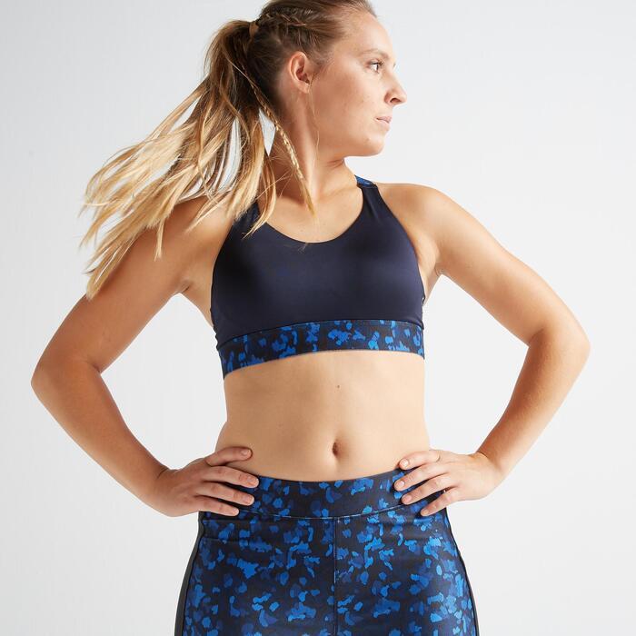 女款有氧健身訓練運動內衣500-軍藍色印花款