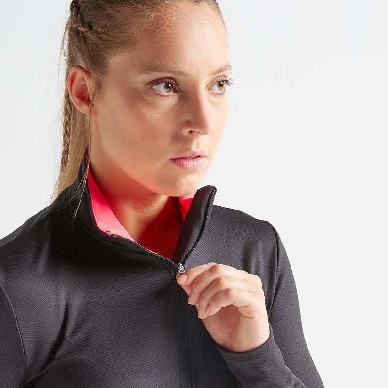 Chaqueta fitness cardio-training 100 mujer negro/rosa