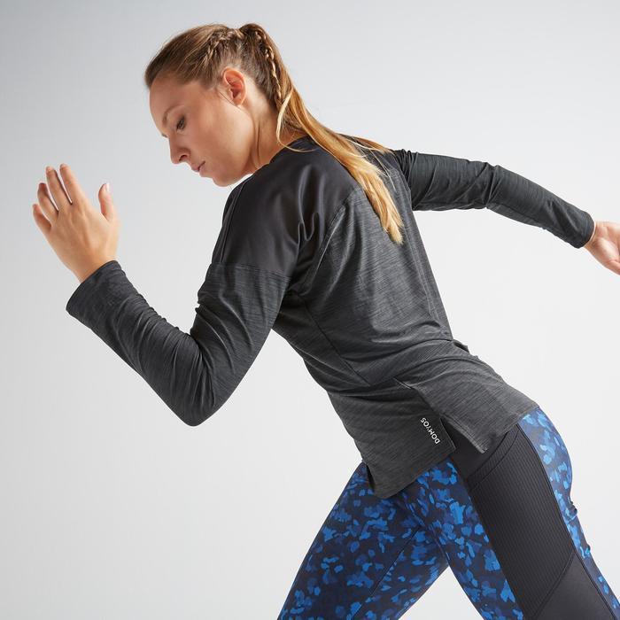 T-shirt manches longues fitness cardio training femme noir chiné 120