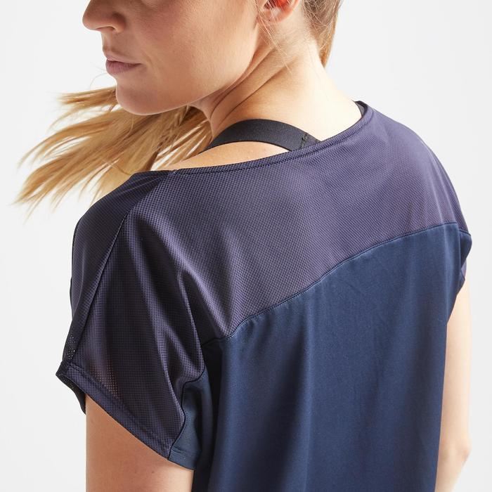 女款有氧健身訓練運動T恤120-軍藍色印花款