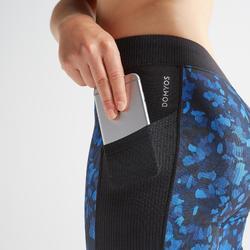 Legging fitness cardio training femme imprimé bleu et noir 120