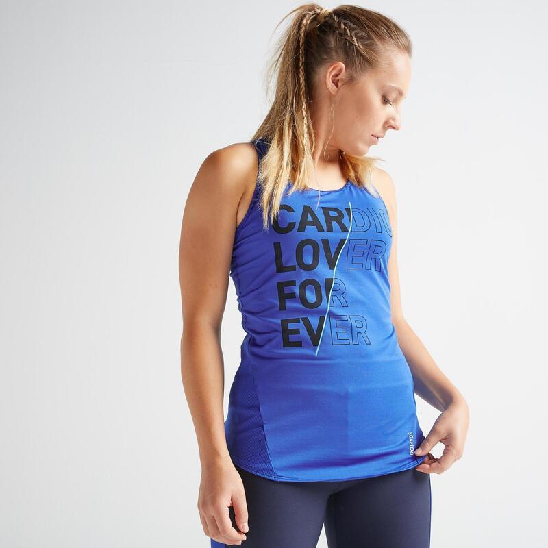 Débardeur fitness cardio training femme bleu électrique 120
