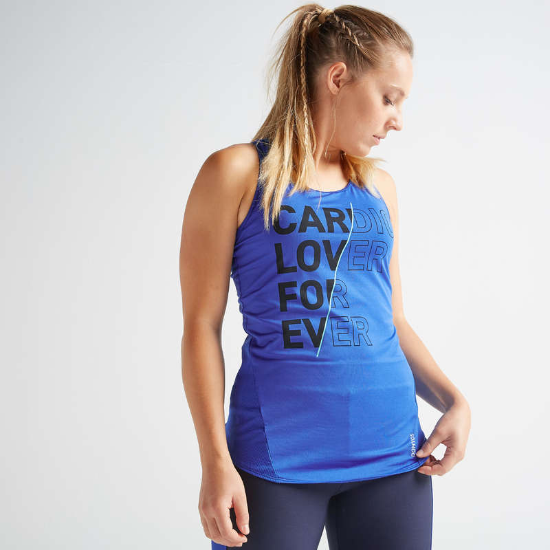 WOMAN FITNESS ENERGY APPAREL Fitness and Gym - Tank Top FTA 120 - Blue DOMYOS - Fitness and Gym
