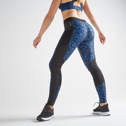 Leggings fitness cardio training mujer estampado azul y negro 120