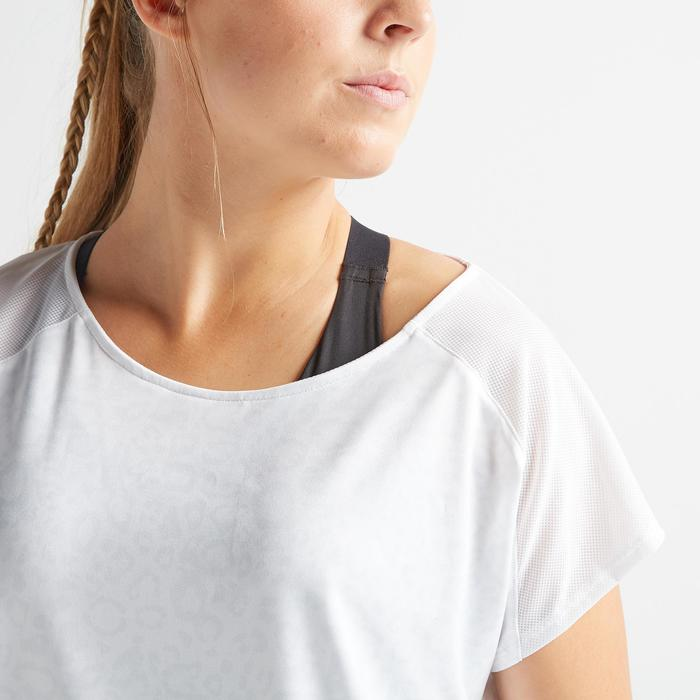 Fitness shirt 120 voor dames, wit/print