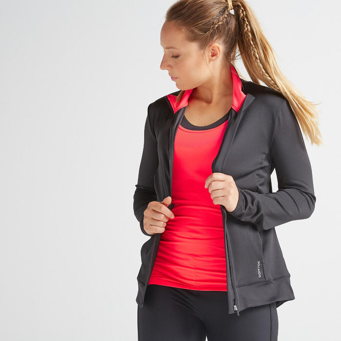 Women's Fitness Cardio Training Jacket 100 - Black/Pink