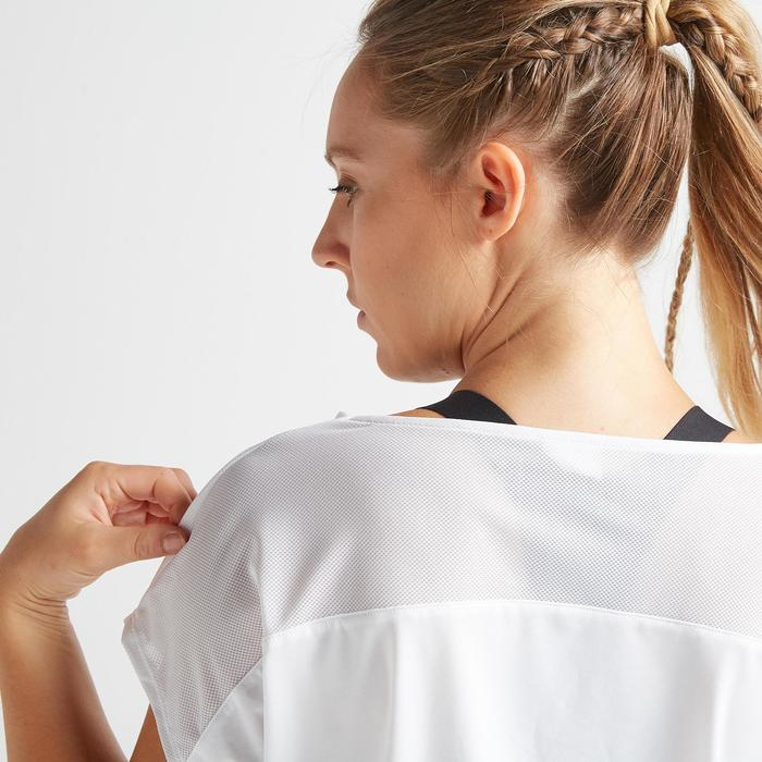 T-shirt fitness cardio training femme blanc imprimé 120