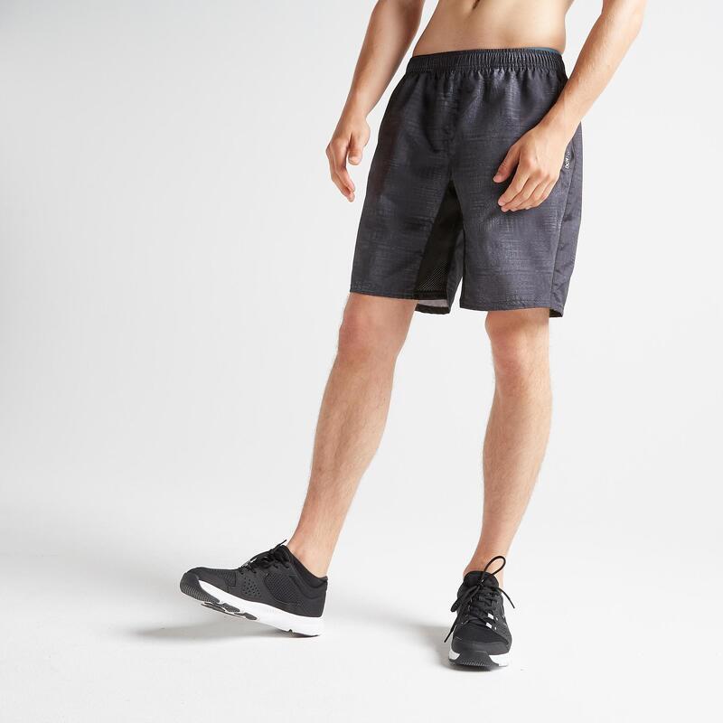 Short cardio fitness homme FST 120 noir printé chiné.