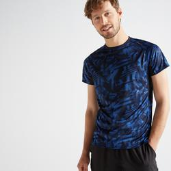 Camiseta manga corta Cardio Fitness Domyos FTS 120 hombre azul estampado