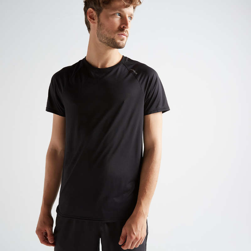 MAN FITNESS APPAREL Clothing - Men's T-Shirt FTS 100 - Black DOMYOS - Tops