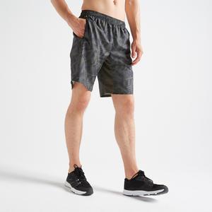 Men's Zip-Pocket Rapid Dry Cardio Gym Short With Mesh - Khaki
