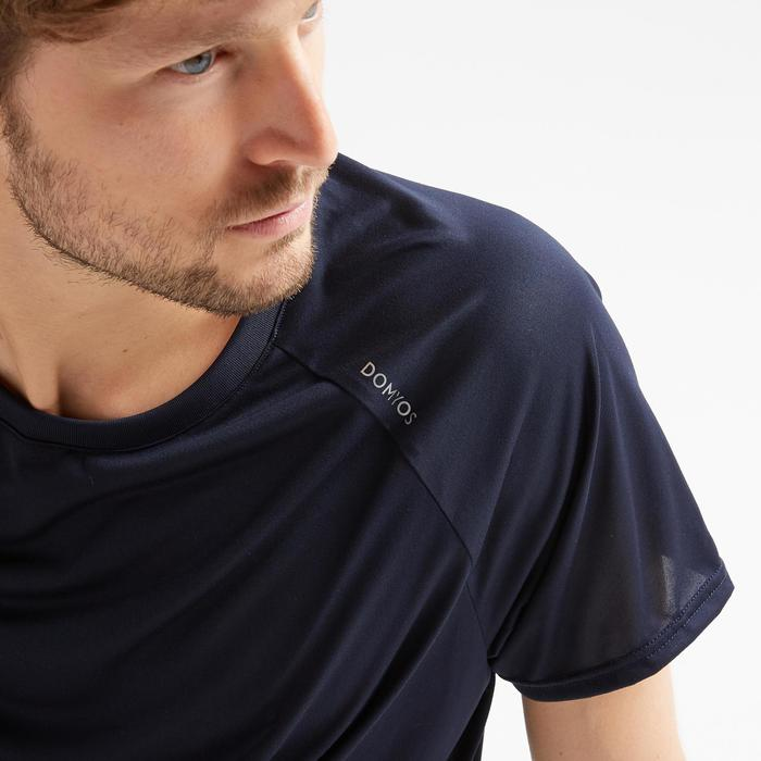 T-shirt voor cardiofitness heren 100 marineblauw