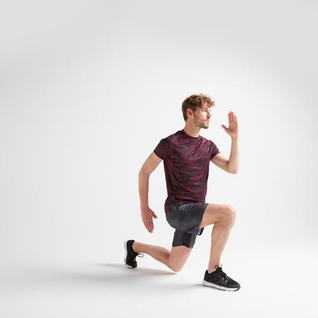 FTS 120 Kaus Latihan Fitness Kardio - Burgundy Loreng