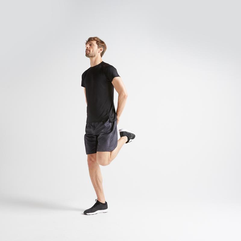 Tee shirt cardio fitness training homme FTS 120 noir uni