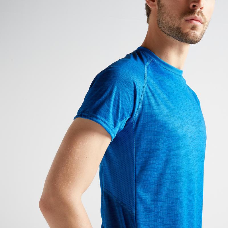 Polera manga corta Cardio Fitness Domyos FTS 120 hombre azul