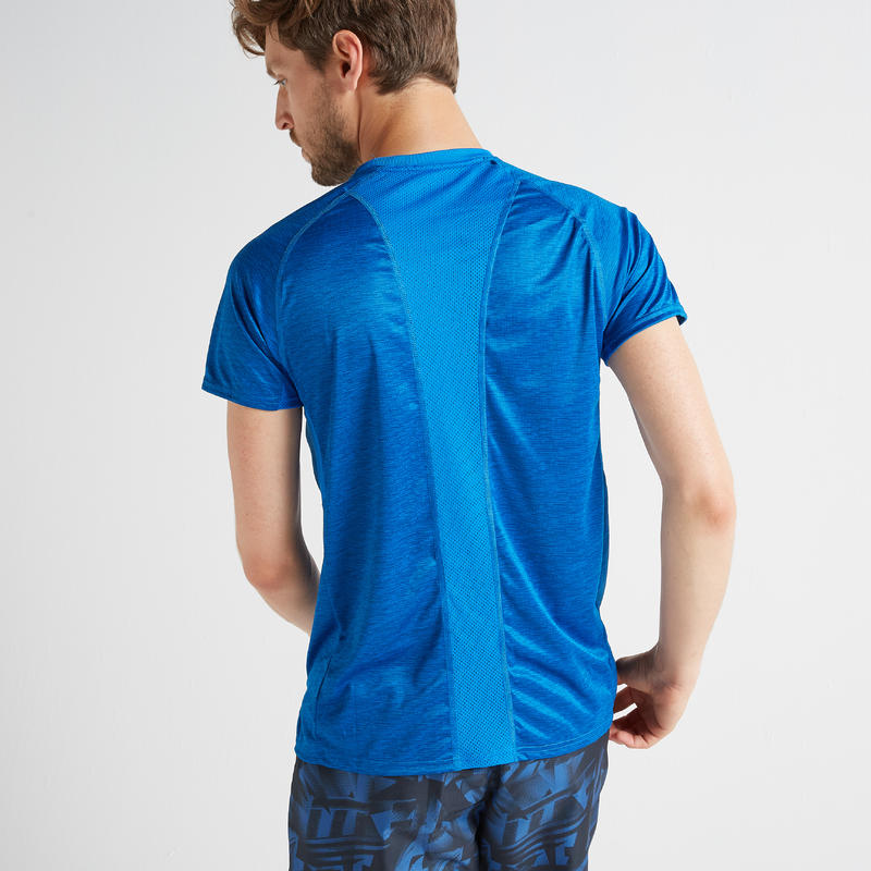 Tee shirt cardio fitness training homme FTS 120 bleu chiné.