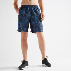 Pantalón corto chándal Fitness Cardio Domyos FST 120 hombre azul estampado