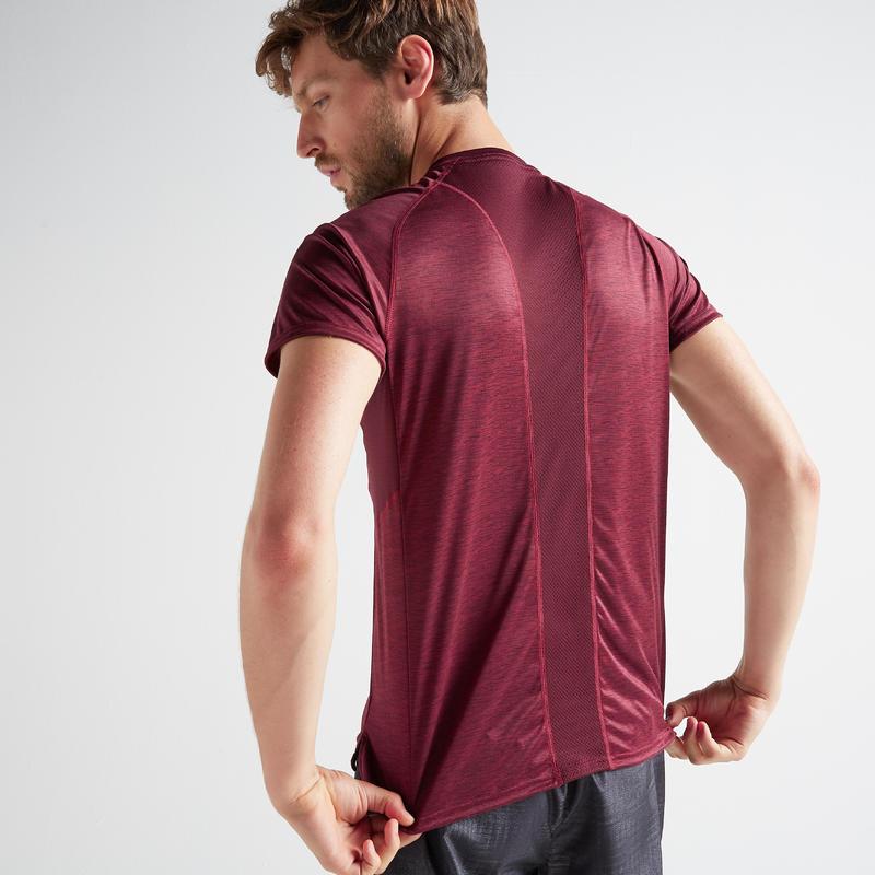 เสื้อยืดผู้ชายสำหรับใส่ออกกำลังกายแบบคาร์ดิโอรุ่น FTS 120 (สีม่วงแดง)