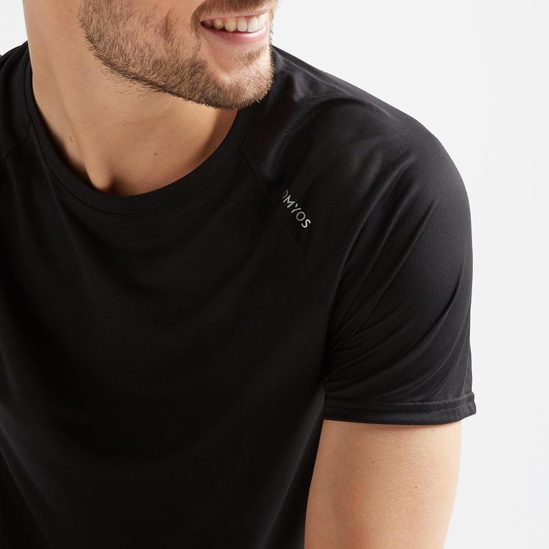 เสื้อยืดสำหรับการออกกำลังกายแบบคาร์ดิโอรุ่น FTS 100 (สีดำ)