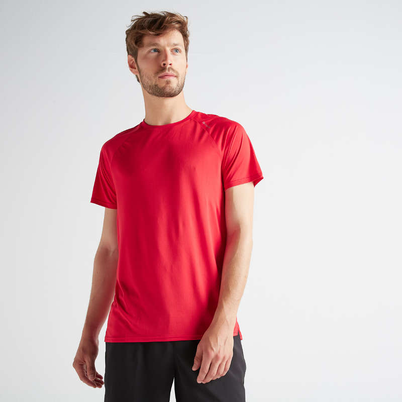 MAN FITNESS APPAREL Clothing - T-Shirt FTS 100 - Blue/Red DOMYOS - Tops