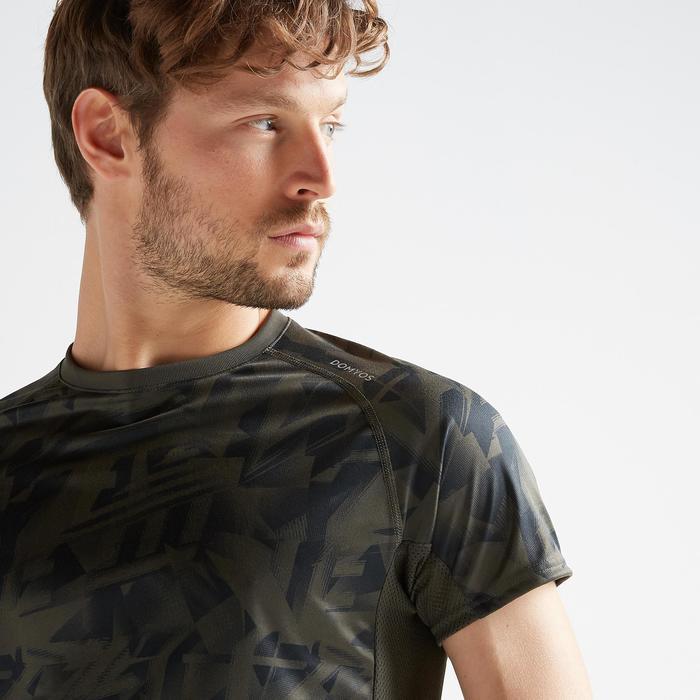 Tee shirt cardio fitness training homme FTS 120 khaki AOP