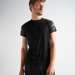 Camiseta manga corta Cardio Fitness Domyos FTS 120 hombre negro gris